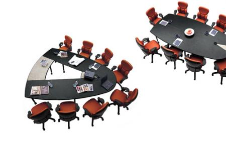Stylish Conference Table Converts To Vshaped Video Conference Table - V shaped conference room table