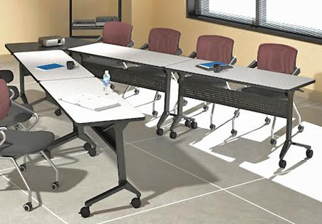 VShaped Conference Table Configured From Portable Flip Top - Portable conference table