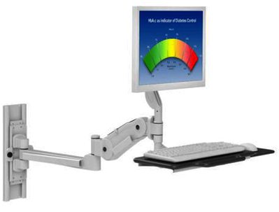 Wall Mounted Computer Station With Antimicrobial Finish