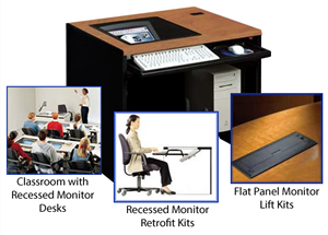 Downview Computer Desk Recessed Monitor Desks Hideaway Workstation Laptop Lift