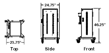 tablet cart dimensions