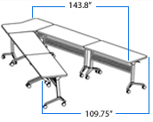 VShaped Conference Table Configured From Portable Flip Top - V shaped conference table