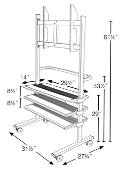 Flat Screen TV Carts Dimensions