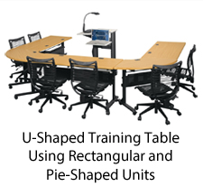 folding u-shaped training tables