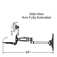 wall mounted computer station arm extended