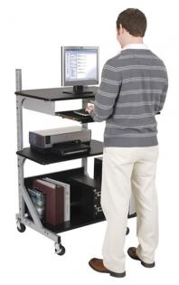 Adjustable-Shelf Sit-Stand Workstation Ideal for Fixed Height Standing Computer Desk