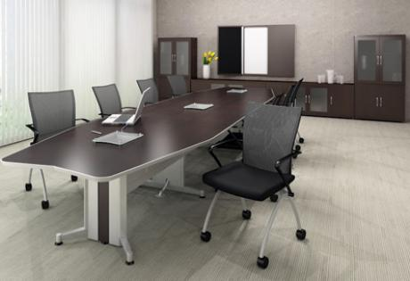 Long Conference Table With Data Ports And Power Options
