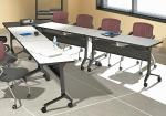 V-Shaped Conference Table Configured from Flip-Top Modular Conference Tables